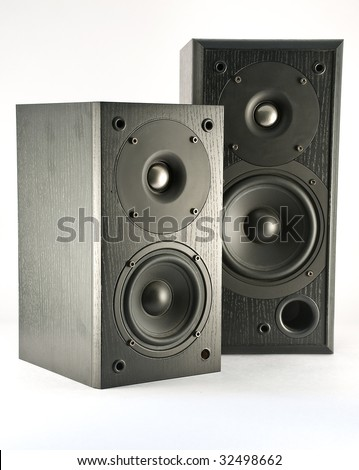Two loud speakers of different size, isolated on white background. - stock photo