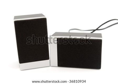 Two loudspeakers boxes isolated on white background.
