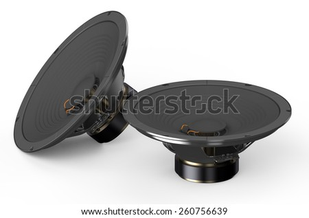 two loudspeakers isolated on white background - stock photo
