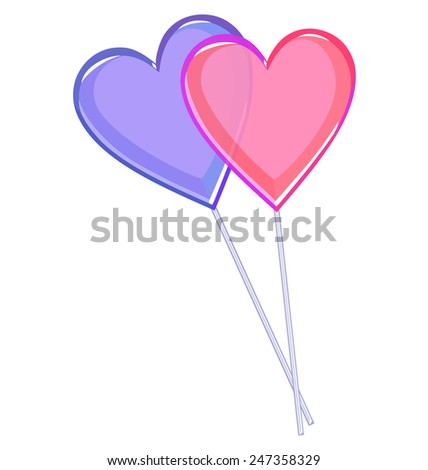 Two love lollipops hearts isolated on white background - stock photo
