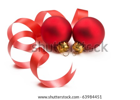 Two lovely red baubles decorated with curly ribbon on white background. For Christmas and New year holidays with copy space. - stock photo