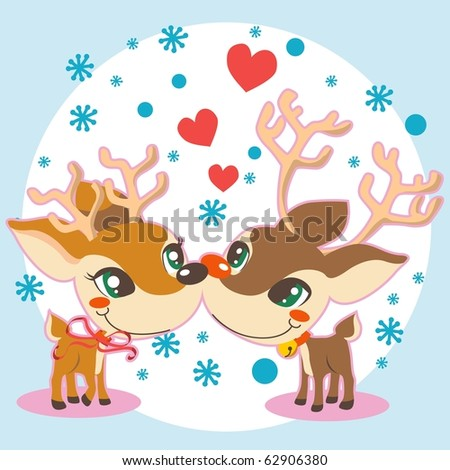 Two lovely reindeer in love on winter. Raster version of vector illustration ID: 62513695 - stock photo