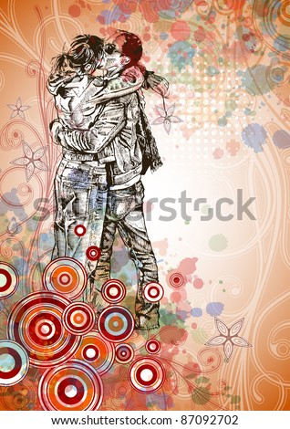 Two lovers kissing & floral calligraphy ornament - a stylized orchid & color paint background. Bitmap copy my vector ID 71736607 - stock photo
