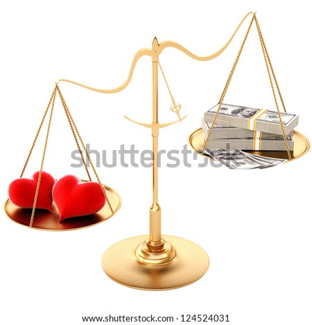 two loving hearts outweigh the money. Isolated on white. - stock photo