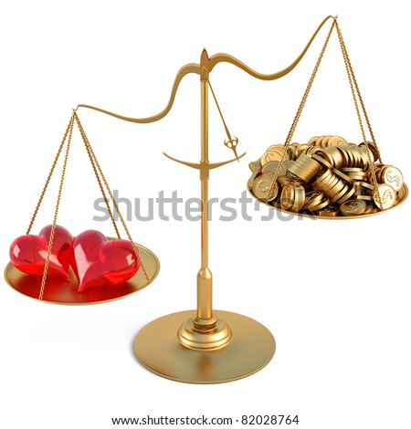 two loving hearts outweigh the pile of gold coins on the scale. isolated on white. - stock photo
