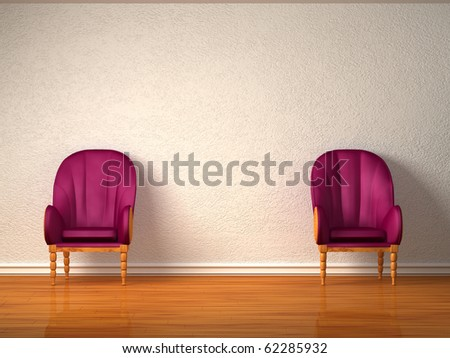 Two luxurious chairs in minimalist interior - stock photo