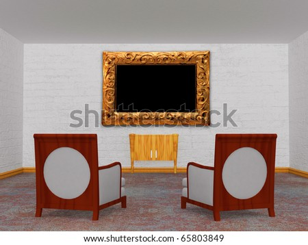 Two luxurious chairs with a wooden console and a picture frame in the minimalist interior - stock photo