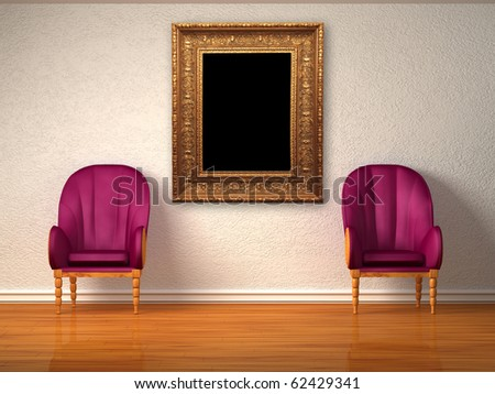 Two luxurious chairs with antique frame in minimalist interior - stock photo