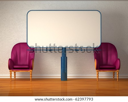 Two luxurious chairs with billboard in minimalist interior - stock photo