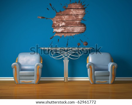 Two luxurious chairs with metallic console and splash hole in minimalist interior - stock photo