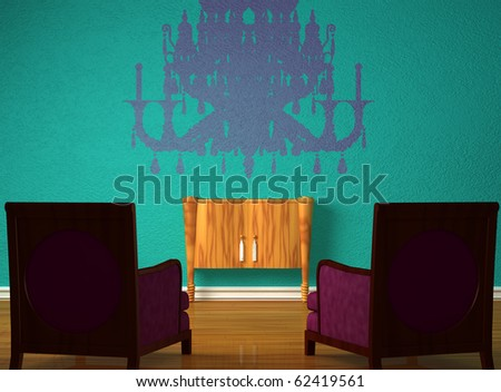 Two luxurious chairs with wooden console and silhouette of lamp in minimalist interior - stock photo