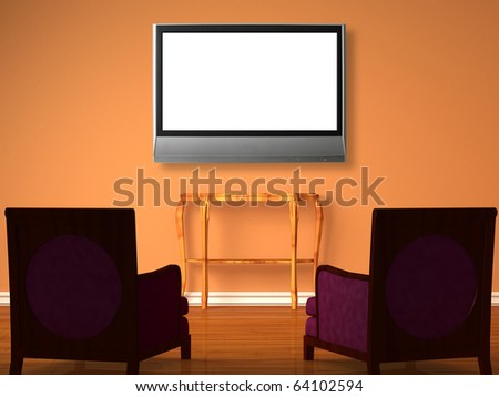 Two luxurious chairs with wooden console and the lcd tv in minimalist interior - stock photo