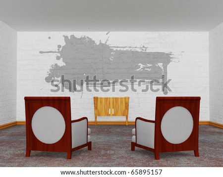 Two luxurious chairs with wooden console and with splash frame in minimalist interior - stock photo