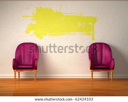 Two luxurious chairs with yellow splash in minimalist interior - stock photo