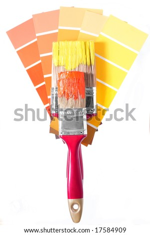 two magenta brushes and palette for repair - stock photo