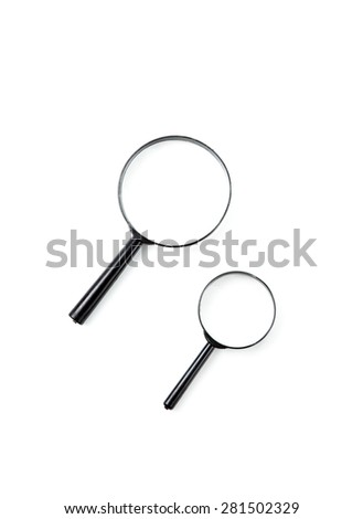 Two magnifying glass isolated on white with soft shadow - stock photo