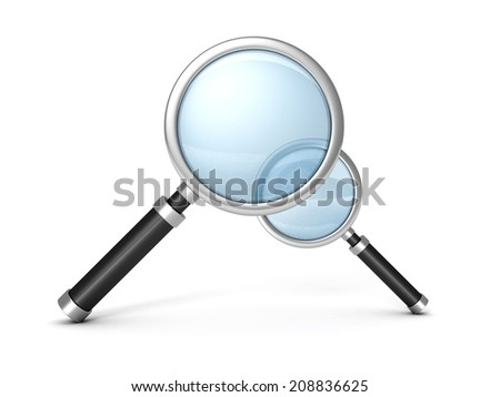 two magnifying glasses on white background. 3d render illustration - stock photo