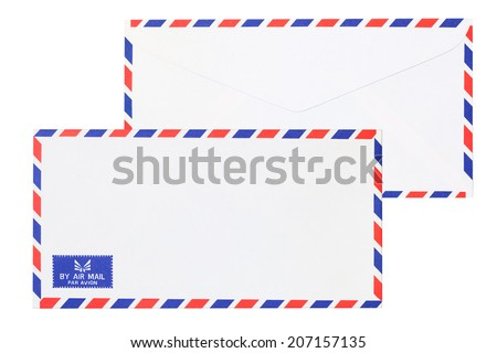 Two mail envelopes isolate white background - stock photo