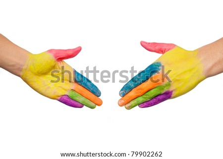 Two male colored hands about to shake hands as logo. Isolated on white background - stock photo