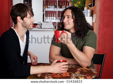 Two male friends chatting in a cafe - stock photo