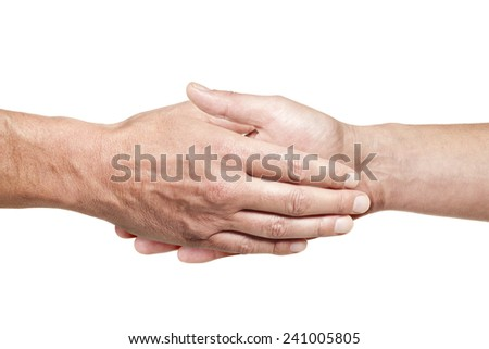 Two male hands doing a handshake isolated on white background