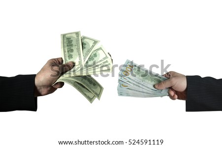 two male hands exchanging the old dollars for new isolated on white background