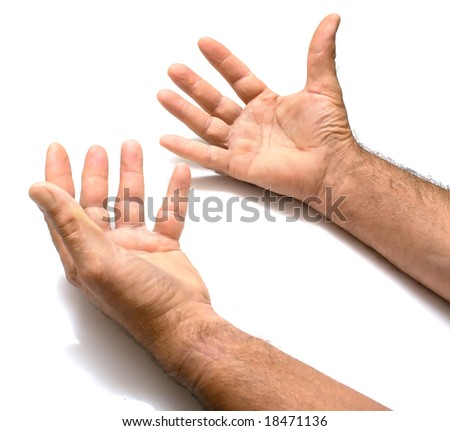 Two male hands on a white background. Isolation