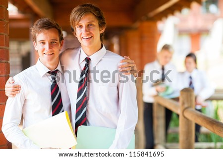 two male high school friends portrait - stock photo