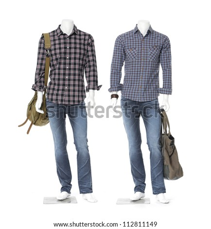 Two male mannequin dressed in cotton plaid shirt