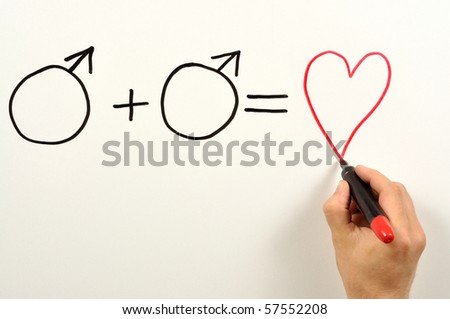 Two male symbols and heart shape used in a formula - stock photo
