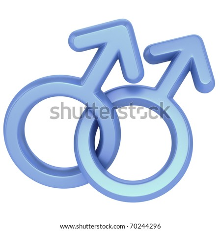 two male symbols crossed representing gay relationship, isolated over white background - stock photo