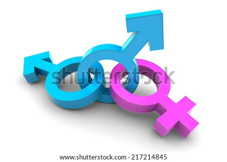 Two Male with Female gender symbol isolated on white background