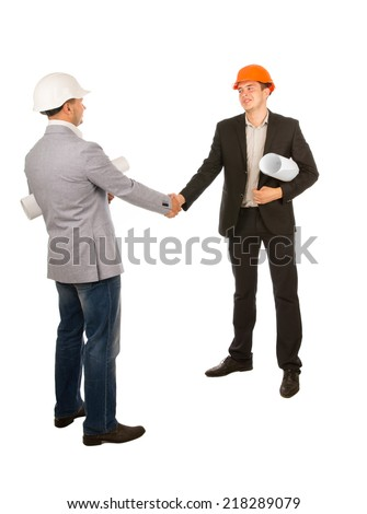 Two Male Young Engineers Shaking Hands Isolated on White Background. - stock photo