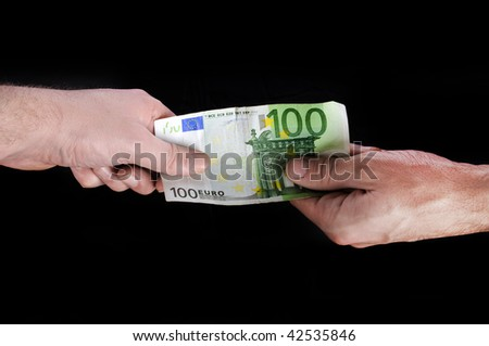 Two man fighting over hundred euro bill