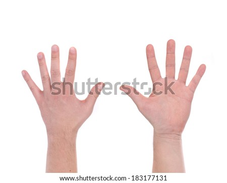 Two man hands. Isolated on a white background. - stock photo