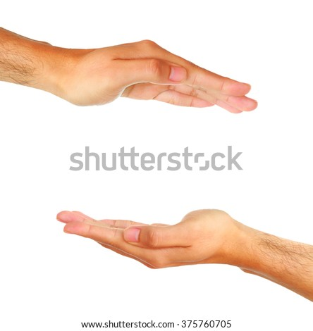 Two man hands isolated on white background.