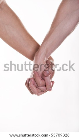 Two man holding hands - stock photo