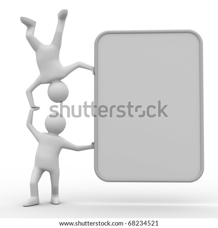 two man holds the poster in hand. 3D image - stock photo