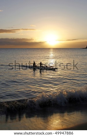 Two Man Outrigger Canoe - Returning at Sunset - Hawaii