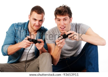two man playing an video game