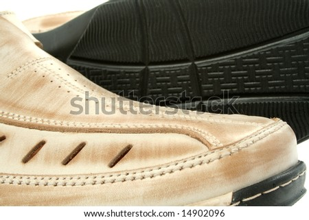 Two man's leather shoes of brown color, (look similar images in my portfolio) - stock photo