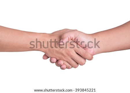two man shaking hands isolated on white background