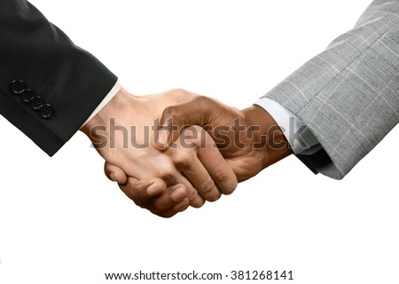 Two man shaking hands. It's a deal. Remember your promises. Respect and approval.