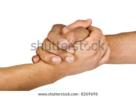 Two man shaking hands more intimate gesture, camaraderie - stock photo