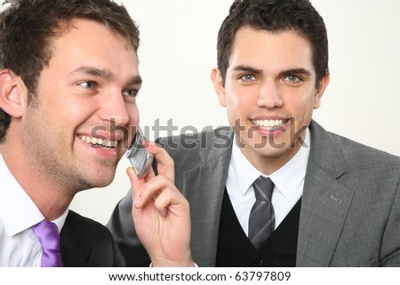 two man telefon and smiling - stock photo