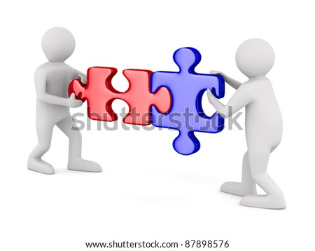 Two man with puzzle on white background. Isolated 3D image - stock photo