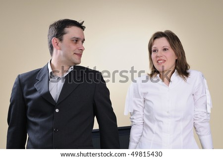two managers discussing in office - stock photo