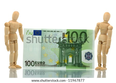 Two manikins holding hundred euro bill - stock photo