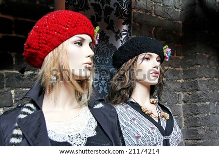 Two mannequin models for clothing and accessories