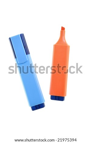 Two markers isolated over white background